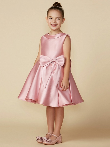 Princess Above Knee Wedding / First Communion Satin Sleeveless Jewel Neck With Bows_13
