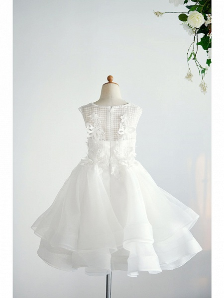 Ball Gown Knee Length Wedding / Birthday Flower Girl Dresses - Organza / Tulle Sleeveless Jewel Neck With Appliques_2