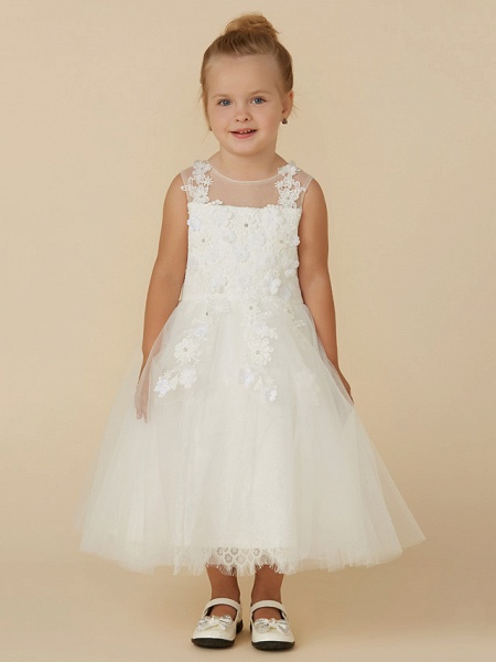Princess Tea Length Wedding / First Communion Flower Girl Dresses - Lace / Tulle Sleeveless Illusion Neck With Beading / Appliques_5