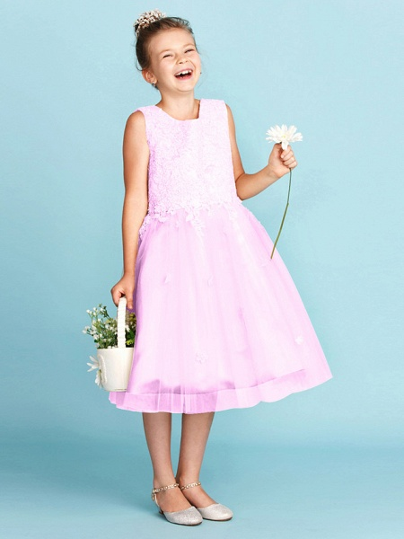 Princess / A-Line Jewel Neck Knee Length Lace / Tulle Junior Bridesmaid Dress With Bow(S) / Appliques / Wedding Party_24