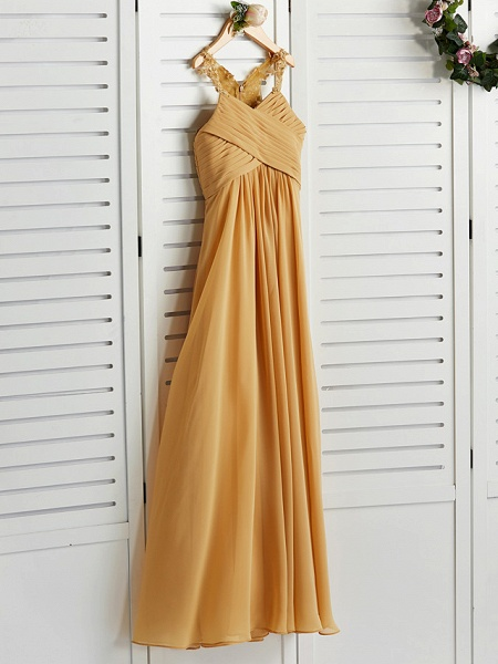 A-Line Halter Neck Floor Length Chiffon Junior Bridesmaid Dress With Appliques / Ruching / Wedding Party_3