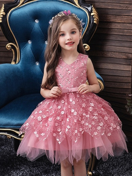 Princess / Ball Gown Mini Wedding / Party Flower Girl Dresses - Tulle Sleeveless V Neck With Sash / Ribbon / Bow(S) / Appliques_2