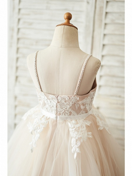 Ball Gown Knee Length Wedding / Birthday Flower Girl Dresses - Lace / Tulle Sleeveless Spaghetti Strap With Belt / Crystals_4