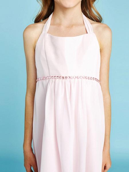 Sheath / Column Halter Neck Asymmetrical Chiffon Junior Bridesmaid Dress With Bow(S) / Beading / Natural_9