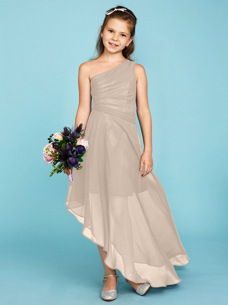 A-Line One Shoulder Asymmetrical Chiffon Junior Bridesmaid Dress With Side Draping / Wedding Party_14
