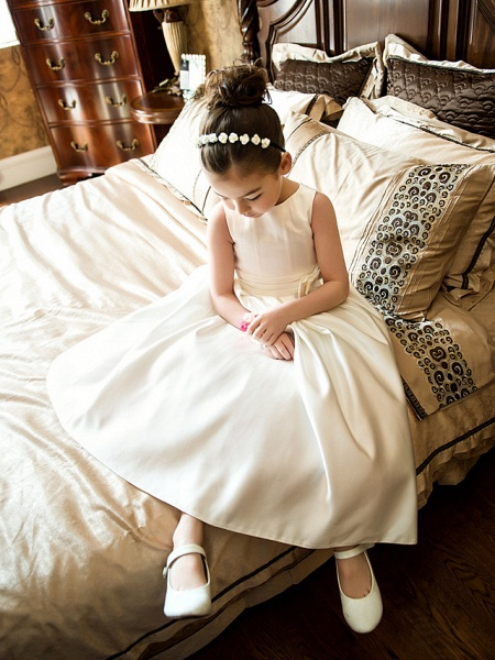Princess / A-Line Tea Length Wedding / First Communion Flower Girl Dresses - Satin Sleeveless Jewel Neck With Bow(S) / Ruched_6