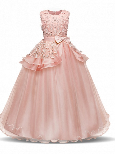 Princess Long Length Wedding / First Communion Flower Girl Dresses - Chiffon / Satin / Tulle Sleeveless Jewel Neck With Bow(S) / Tier / Appliques_4