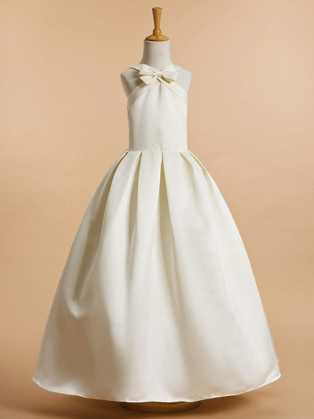 A-Line Ankle Length Wedding / First Communion Flower Girl Dresses - Satin Sleeveless V Neck With Bow(S)_1