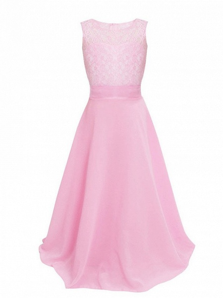 Princess / Ball Gown Maxi Party / Formal Evening / Pageant Flower Girl Dresses - Tulle / Poly&Cotton Blend Sleeveless Jewel Neck With Lace / Solid_23