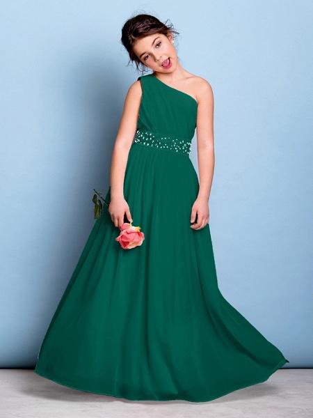 A-Line One Shoulder Floor Length Chiffon Junior Bridesmaid Dress With Sash / Ribbon / Beading / Side Draping / Natural_26