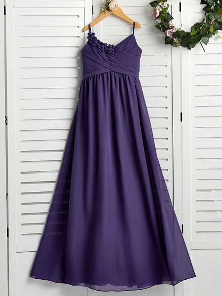 A-Line Spaghetti Strap Floor Length Chiffon Junior Bridesmaid Dress With Appliques / Ruching_1