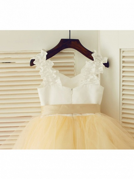 A-Line Tea Length Wedding / First Communion / Pageant Flower Girl Dresses - Satin / Tulle Sleeveless Strapless With Belt_4
