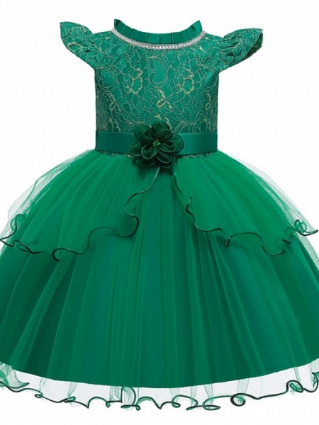Princess / Ball Gown Knee Length Wedding / Party Flower Girl Dresses - Tulle Cap Sleeve Jewel Neck With Sash / Ribbon / Embroidery / Flower_9