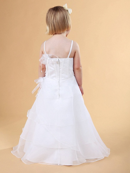 Princess / A-Line Floor Length Wedding Party Organza / Satin Sleeveless Spaghetti Strap With Appliques / Flower / Spring / Summer / Fall / Winter_8