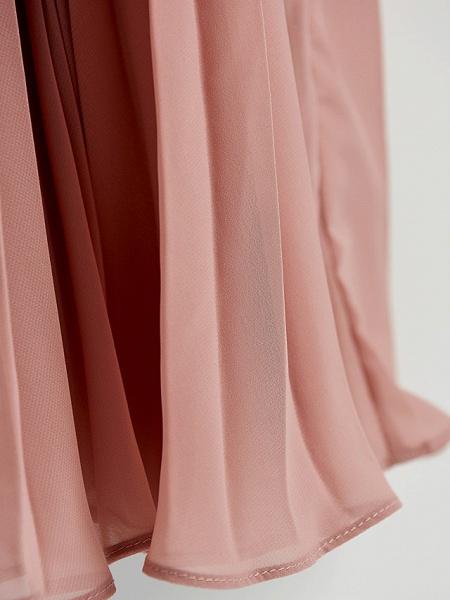 A-Line Crew Neck Maxi Chiffon / Lace Junior Bridesmaid Dress With Lace / Pleats_8