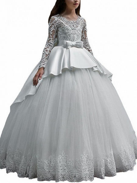 Ball Gown Court Train Party / Birthday Flower Girl Dresses - Poly Long Sleeve Jewel Neck With Lace / Bow(S) / Appliques_5
