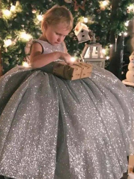 Princess / Ball Gown Sweep / Brush Train Wedding / Party Flower Girl Dresses - Lace / Organza Sleeveless Jewel Neck With Bow(S) / Ruffles / Paillette_1