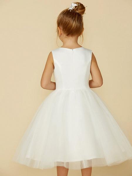 Princess Tea Length Wedding / First Communion Flower Girl Dresses - Satin / Tulle Sleeveless Jewel Neck With Lace_5
