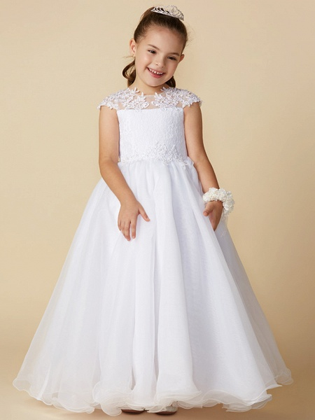 Ball Gown Ankle Length Wedding / First Communion Flower Girl Dresses - Lace / Tulle Short Sleeve Jewel Neck With Beading / Appliques_4