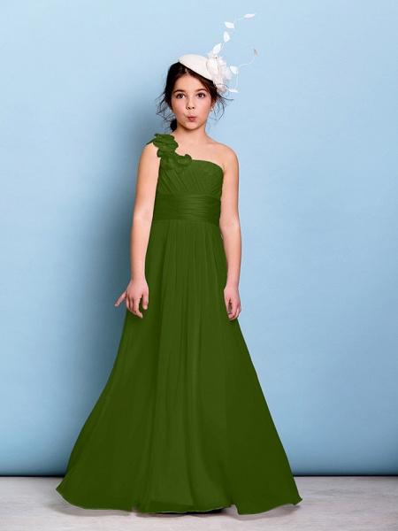 A-Line One Shoulder Floor Length Chiffon Junior Bridesmaid Dress With Sash / Ribbon / Criss Cross / Ruched / Natural_39