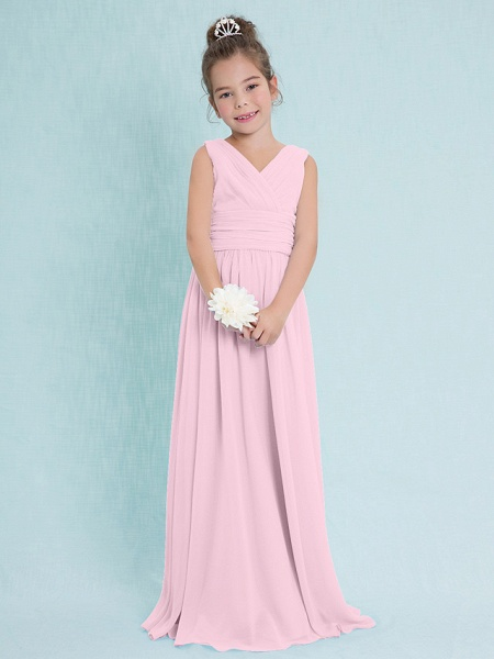 Sheath / Column V Neck Floor Length Chiffon Junior Bridesmaid Dress With Criss Cross / Ruched / Natural_9