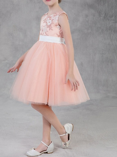 A-Line Knee Length Pageant Flower Girl Dresses - Polyester Sleeveless Jewel Neck With Appliques_2