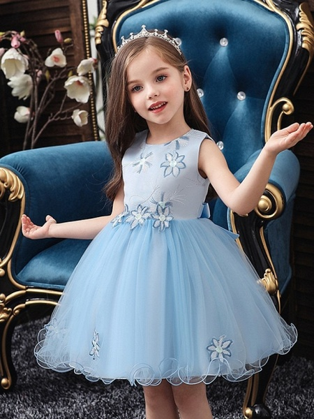 Princess / Ball Gown Floor Length Wedding / Party Flower Girl Dresses - Satin / Tulle Sleeveless Jewel Neck With Bow(S) / Appliques_3