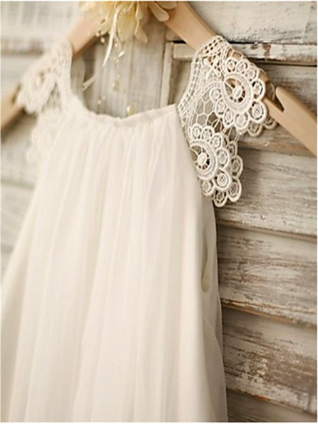 A-Line Tea Length Wedding / Holiday Flower Girl Dresses - Chiffon / Satin Sleeveless Jewel Neck With Lace_3
