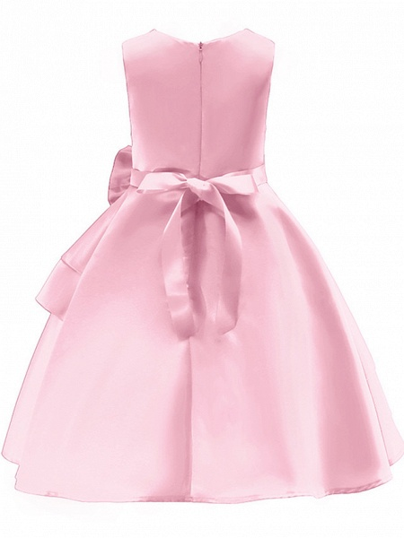 Ball Gown Knee Length Wedding / Party Flower Girl Dresses - Tulle Sleeveless Jewel Neck With Bow(S) / Tier_2
