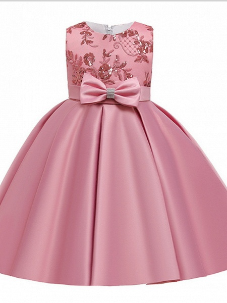 Ball Gown Ankle Length Pageant Flower Girl Dresses - Polyester Sleeveless Jewel Neck With Bow(S) / Appliques_2
