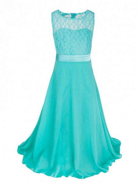 Princess / Ball Gown Maxi Party / Formal Evening / Pageant Flower Girl Dresses - Tulle / Poly&Cotton Blend Sleeveless Jewel Neck With Lace / Solid_17