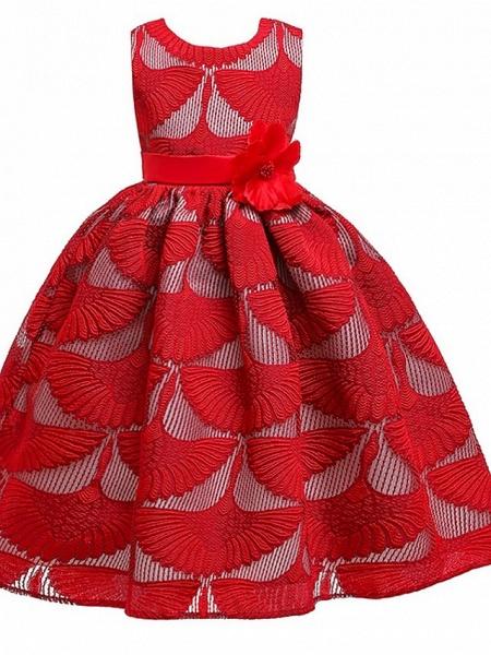 Princess Round Floor Length Cotton Junior Bridesmaid Dress With Bow(S)_3
