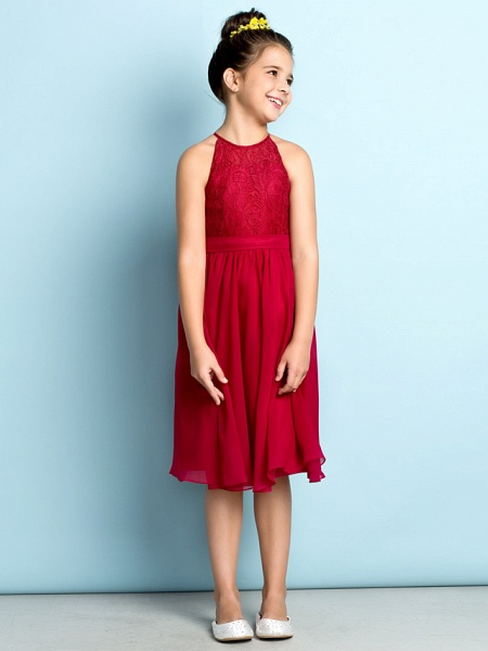 A-Line Jewel Neck Knee Length Chiffon / Lace Junior Bridesmaid Dress With Lace / Natural / Mini Me_2
