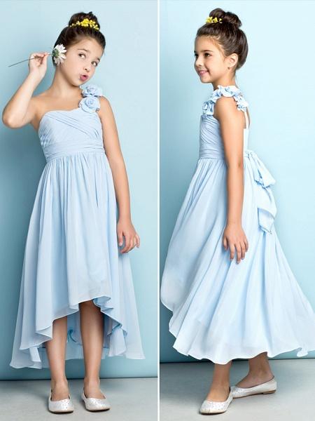 A-Line One Shoulder Asymmetrical Chiffon Junior Bridesmaid Dress With Criss Cross / Flower / Natural / Mini Me_7