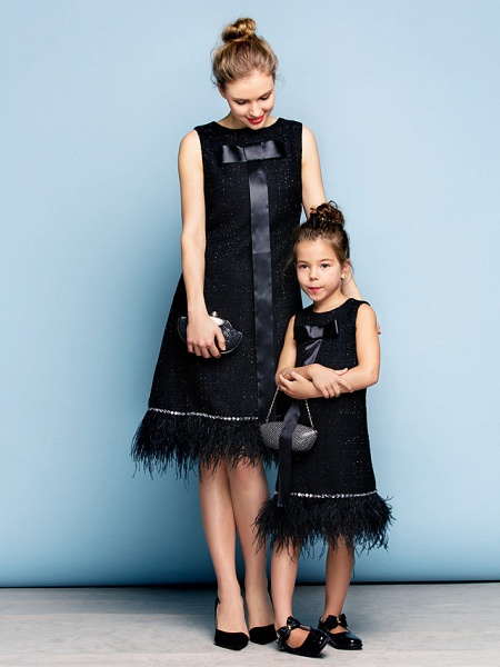 A-Line Knee Length Party / Holiday / Cocktail Party Flower Girl Dresses - Cotton Sleeveless Jewel Neck With Crystals / Mini Me_3