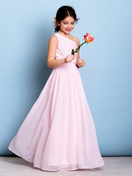 A-Line One Shoulder Floor Length Chiffon Junior Bridesmaid Dress With Sash / Ribbon / Beading / Side Draping / Natural_5