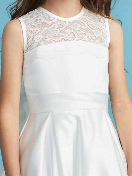 Princess / A-Line Jewel Neck Floor Length Lace / Satin Junior Bridesmaid Dress With Lace / Bow(S) / Pleats_8