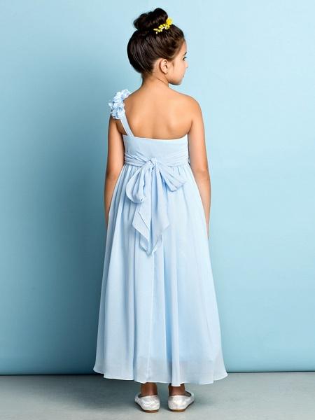 A-Line One Shoulder Asymmetrical Chiffon Junior Bridesmaid Dress With Criss Cross / Flower / Natural / Mini Me_2