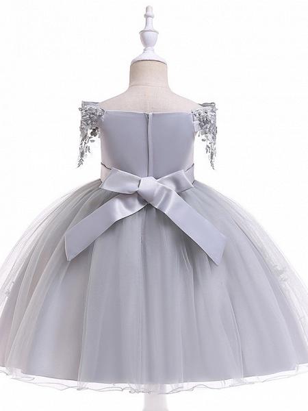A-Line Knee Length Wedding / Birthday / Pageant Flower Girl Dresses - Tulle Short Sleeve Off Shoulder With Petal / Sash / Ribbon / Trim_9