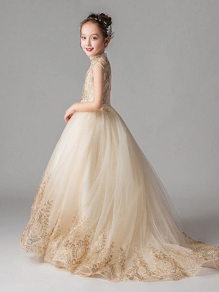 Princess Court Train Party / Pageant Flower Girl Dresses - Polyester Sleeveless Jewel Neck With Appliques_4