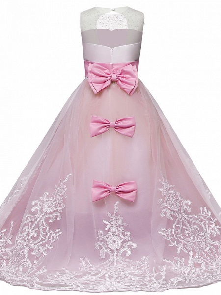 Princess Maxi Wedding / Birthday / Pageant Flower Girl Dresses - Lace / Tulle Sleeveless Jewel Neck With Lace / Bow(S) / Paillette_3