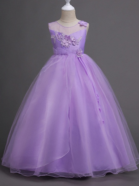 Princess Long Length Wedding / First Communion Satin / Tulle Sleeveless Jewel Neck With Belt / Appliques_7