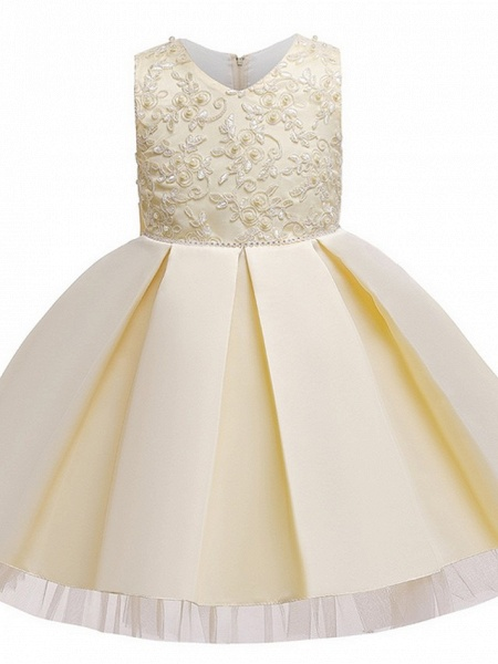 Princess / Ball Gown Knee Length Wedding / Party Flower Girl Dresses - Tulle Sleeveless V Neck With Sash / Ribbon / Bow(S) / Appliques_10