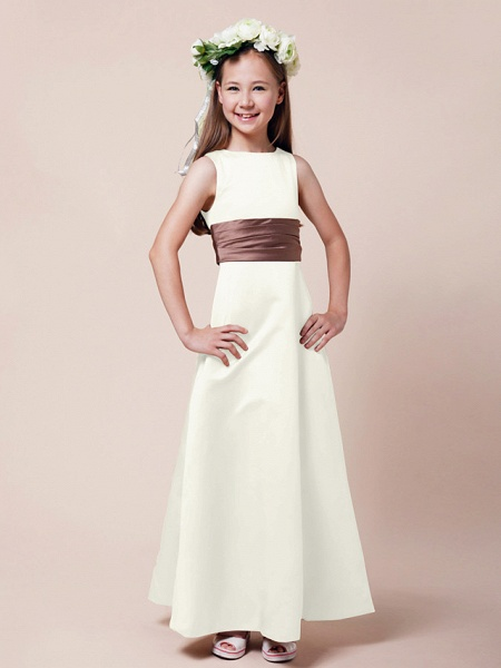 Princess / A-Line Bateau Neck Floor Length Satin Junior Bridesmaid Dress With Sash / Ribbon / Ruched / Spring / Summer / Fall / Winter / Apple_17