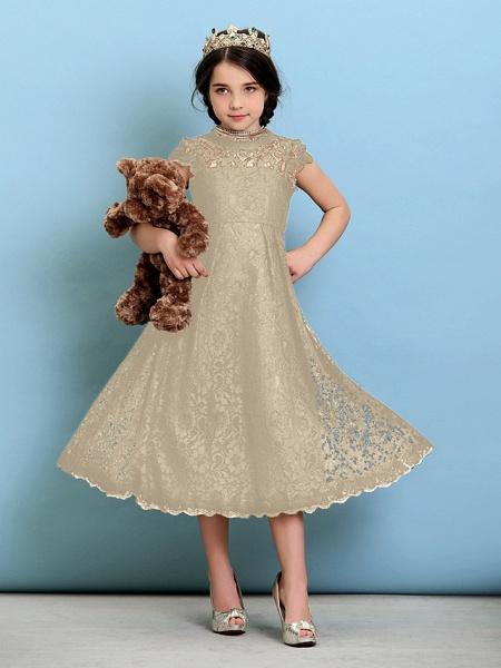 Princess / A-Line Jewel Neck Tea Length Lace Junior Bridesmaid Dress With Pleats / Natural_22