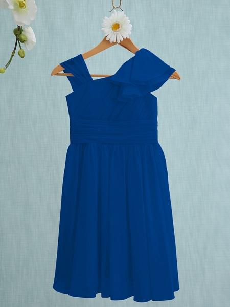 Sheath / Column Straps Knee Length Chiffon Junior Bridesmaid Dress With Ruffles / Side Draping / Natural_33