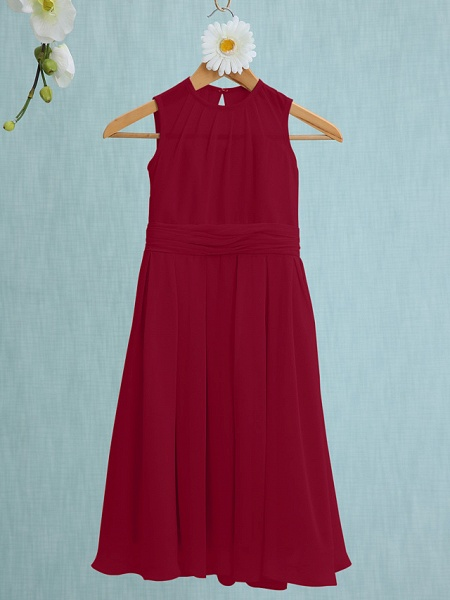 Sheath / Column Jewel Neck Knee Length Chiffon Junior Bridesmaid Dress With Ruched / Natural_13
