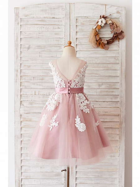Ball Gown Knee Length Wedding / Birthday Flower Girl Dresses - Lace / Tulle Sleeveless Jewel Neck With Belt / Buttons_2