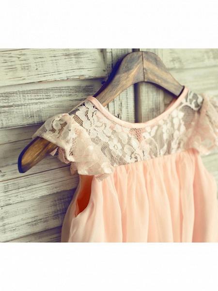 A-Line Tea Length Holiday Flower Girl Dresses - Chiffon / Lace Sleeveless Jewel Neck With Lace / Pleats_3