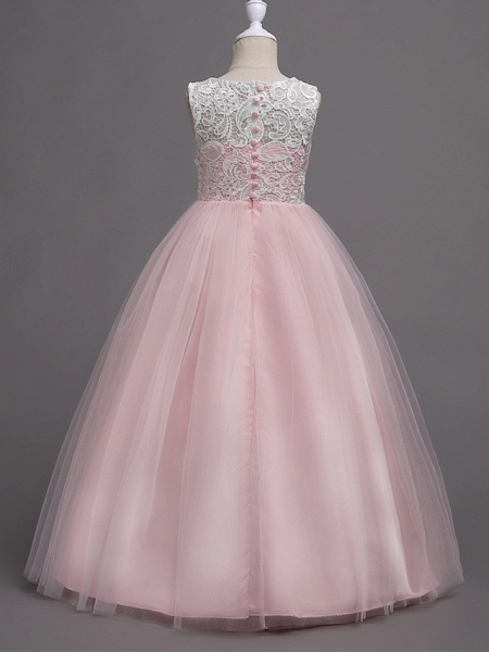 Princess Long Length Wedding / Party / Pageant Flower Girl Dresses - Lace / Satin / Tulle Sleeveless Jewel Neck With Lace_14